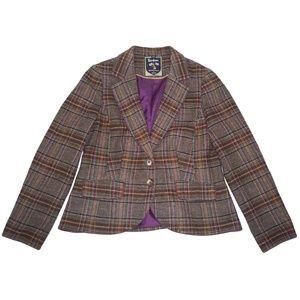 Boden British Tweed Jacket Blazer 12 Plaid Wool